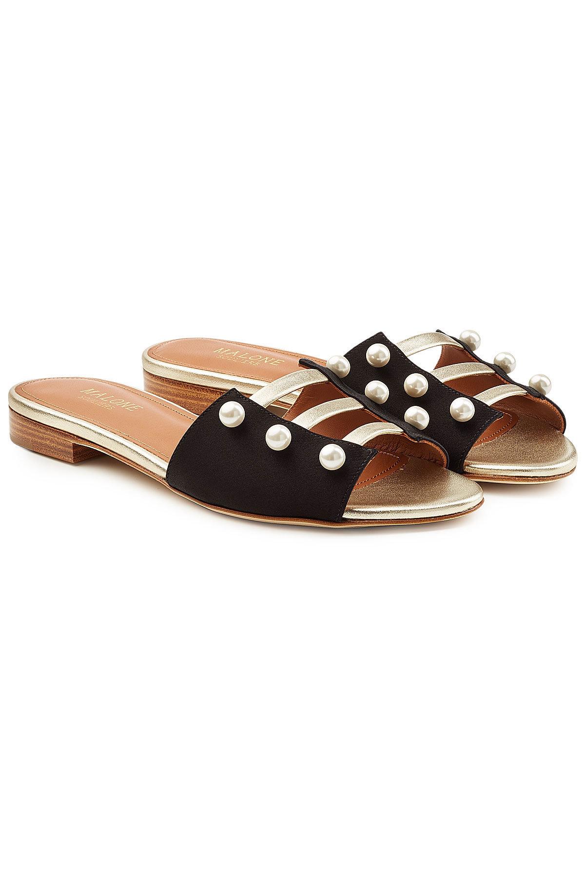 MALONE SOULIERS Zelda Leather Sandals with Faux Pearls Gr. EU 39 JiQwF