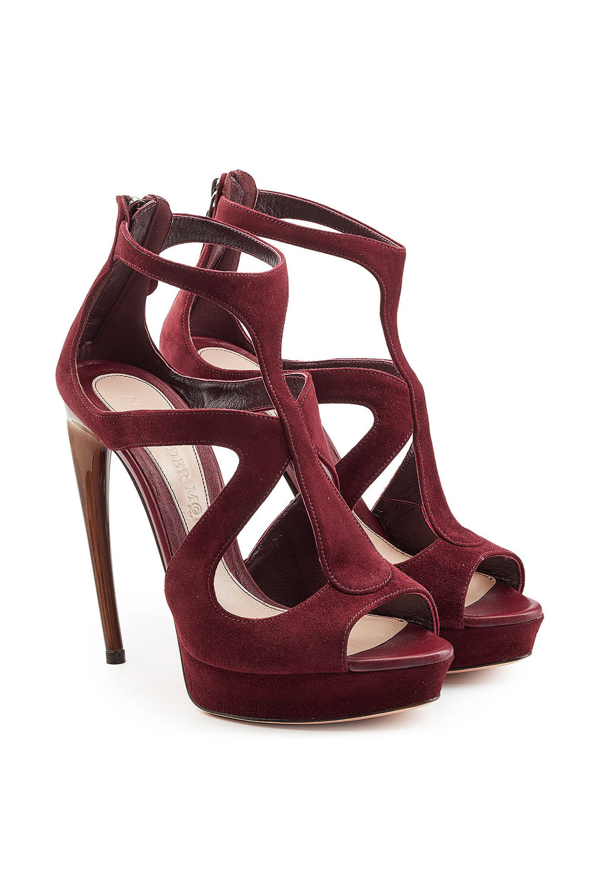 Alexander McQueen Satin Platform Sandals with Ruffle Trim Gr. IT 37