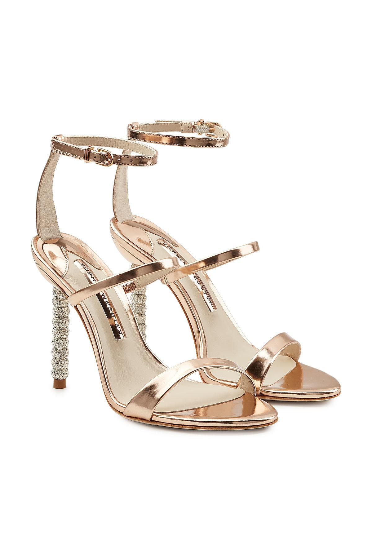 SOPHIA WEBSTER Rosalind Metallic Leather Sandals with Embellished Heels Gr. EU 39 lZsoJl