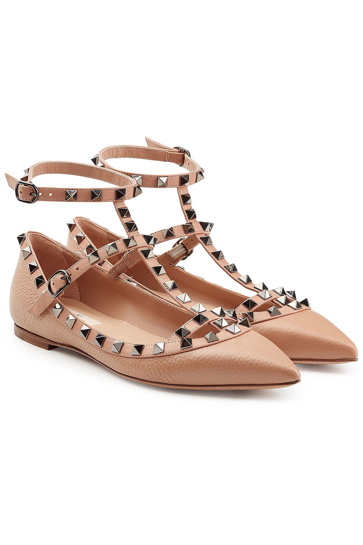 Valentino Rockstud Textured Leather Ballerinas Gr. IT 39 rh1mnGw8K