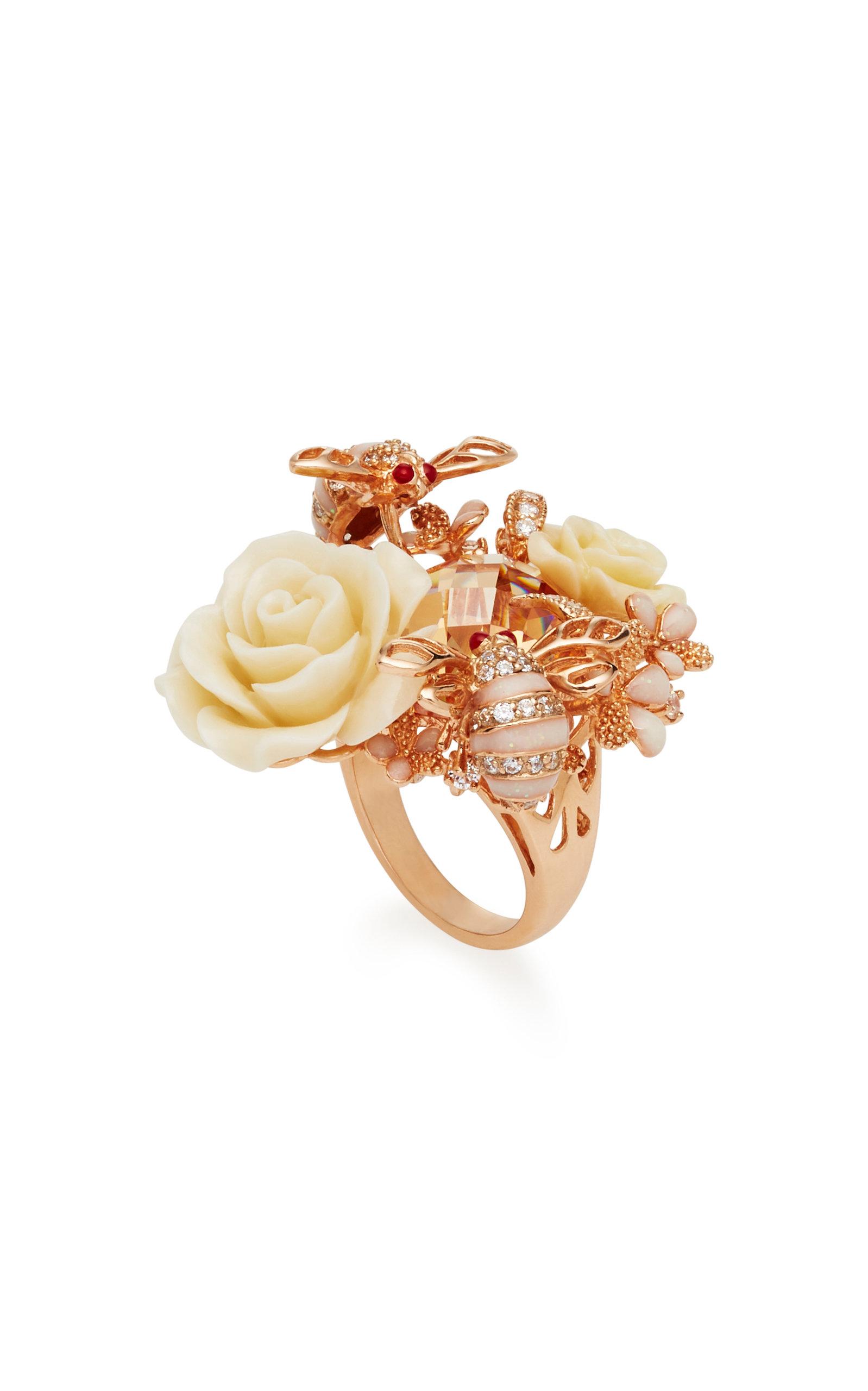 Bumble Rose 18K Gold Diamonds And Enamel Ring Anabela Chan 1idEnk