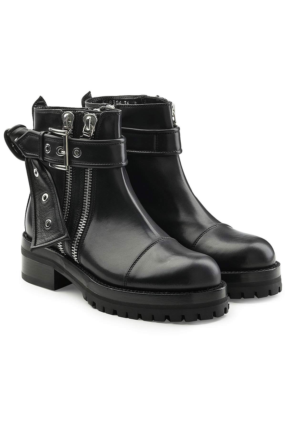 Alexander McQueenLeather Ankle Boots with Buckles Gr. EU 43 Cr0TsOl