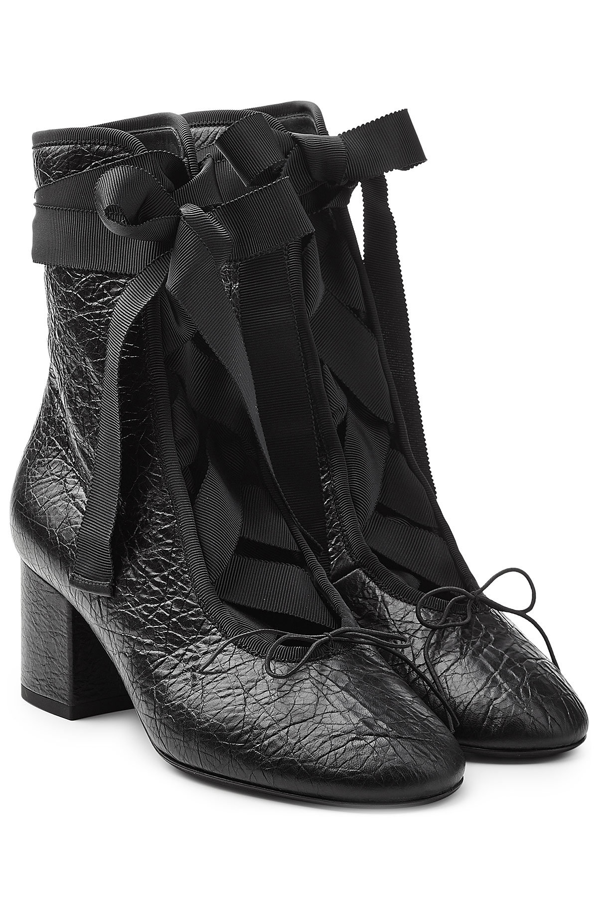 Valentino Leather Ankle Boots with Grosgrain Ribbon Gr. IT 38 GTVbi8