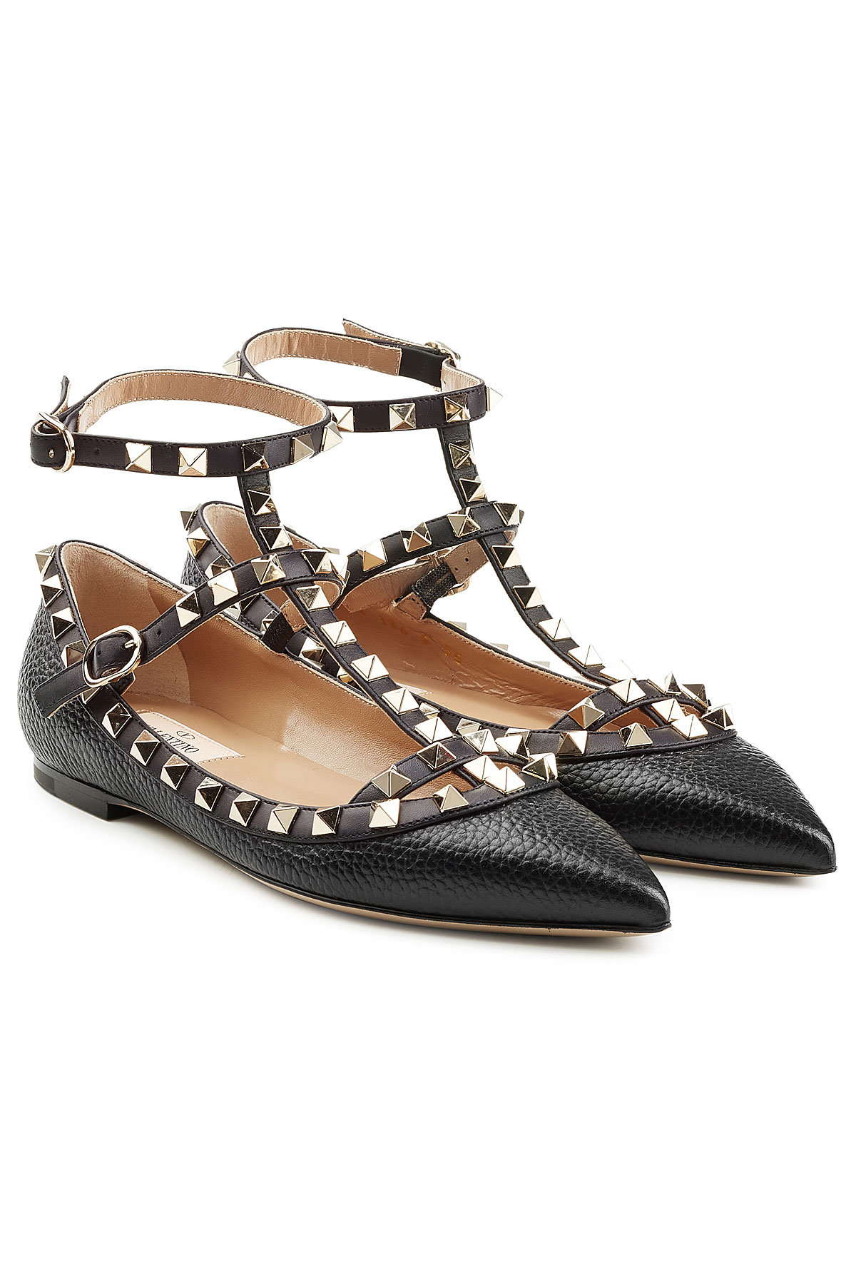 Valentino Rockstud Textured Leather Ballerinas Gr. IT 39 RgwQ4Ydvm