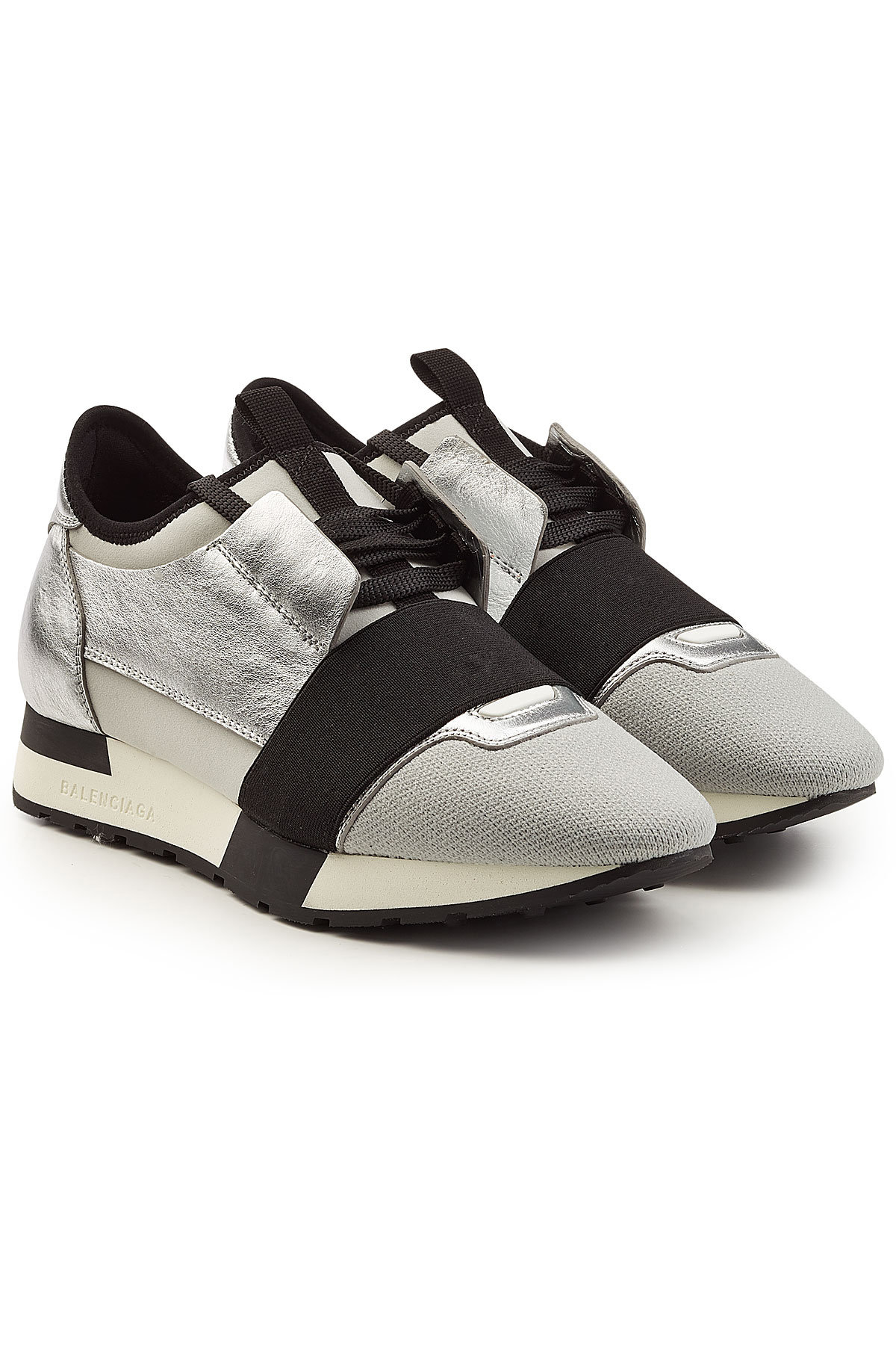Balenciaga Race Runner Sneakers with Metallic Leather, Mesh and Suede Gr. IT 38